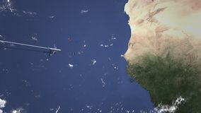 Vol d'avion vers Dakar, Sénégal sur la carte Animation de l'introduction 3D illustration libre de droits
