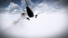 Vol d'avions par les nuages et aller à l'encontre une longueur de montagne illustration libre de droits