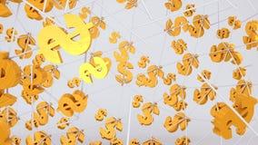 Vol d'or de symbole dollar sur le fond lumineux image libre de droits