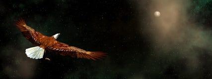 Vol d'Eagle dans l'univers - 3D rendent Photos stock