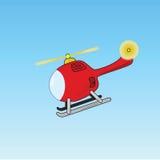 Vol d'hélicoptère de dessin animé Photo stock