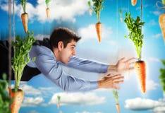 Vol d'homme d'affaires avec des carottes Images stock