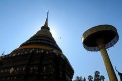 Vol d'oiseau dans le ciel bleu au-dessus d'un temple Images libres de droits