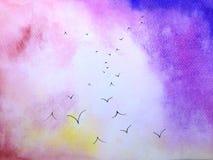 Vol d'oiseaux de paysage de coucher du soleil d'aquarelle illustration stock