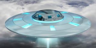 Vol d'UFO de vintage sur le rendu du ciel nuageux 3D Images stock