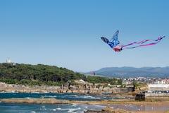 Vol de cerf-volant sur la plage photo stock