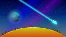 Vol de comète près du soleil illustration de vecteur