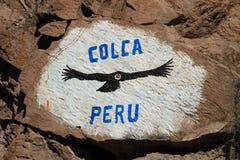 Vol de condor de signe de canyon de Colca Photographie stock libre de droits