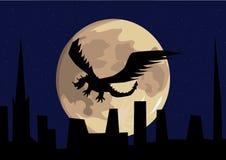 Vol de dragon devant la pleine lune Illustration de Vecteur