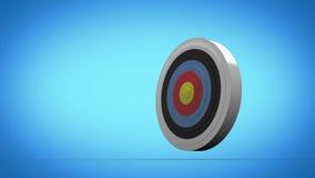 Vol de flèche vers le panneau de dard et la cible de frapper illustration stock