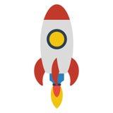 Vol de fusée d'espace sur le fond blanc illustration de vecteur
