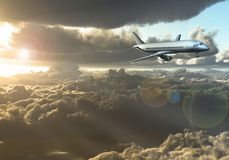 Vol de Jet Aircraft entre les nuages illustration stock