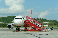 Vol de jet d'Air Asia Images libres de droits