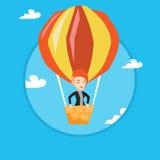 Vol de jeune femme dans le ballon à air chaud Photo libre de droits