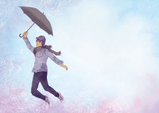 Vol de jeune homme avec le parapluie illustration de vecteur