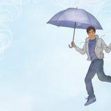 Vol de jeune homme en air ouvert avec le parapluie Photos stock