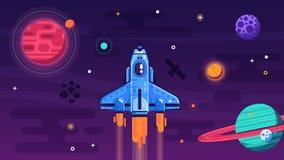 Vol de navette spatiale dans l'espace extra-atmosphérique illustration libre de droits