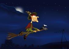 Vol de nuit d'une sorcière sur un balai Photographie stock