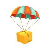 Vol de paquet sur le parachute Expédition d'air Icône de vecteur de boîte Concept de service de distribution Image libre de droits