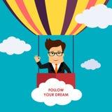 Vol de personnage de dessin animé d'homme d'affaires sur l'illustration chaude de vecteur de ballon à air Image stock