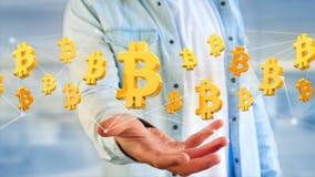 Vol de signe de Bitcoin autour d'une connexion réseau - 3d rendent Images libres de droits