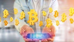 Vol de signe de Bitcoin autour d'une connexion réseau - 3d rendent Images stock