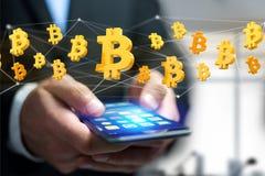 Vol de signe de Bitcoin autour d'une connexion réseau - 3d rendent Image stock