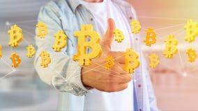 Vol de signe de Bitcoin autour d'une connexion réseau - 3d rendent Photos stock