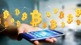 Vol de signe de Bitcoin autour d'une connexion réseau - 3d rendent Photographie stock