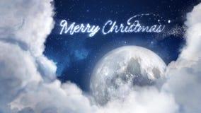 Vol de silhouette de dextérité de renne de Santa Claus dans le clair de lune, le message de Joyeux Noël, l'espace des textes pour banque de vidéos