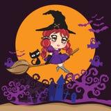 Vol de sorcière avec le chat noir sur un manche à balai au-dessus de la lune foncé illustration libre de droits