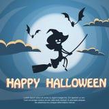 Vol de sorcière sur la bande dessinée de costume de Halloween de balai Photos libres de droits