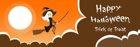 Vol de sorcière sur la bande dessinée de costume de Halloween de balai illustration de vecteur