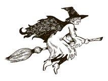 Vol de sorcière sur le vecteur de gravure de manche à balai Photo libre de droits