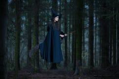 Vol de sorcière sur un balai photographie stock libre de droits