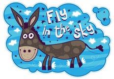 Vol de sourire d'âne dans le ciel Images libres de droits