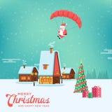 Vol de sourire heureux mignon de Santa de bande dessinée avec le parachute sur rural illustration de vecteur