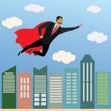 Vol de super héros d'homme d'affaires dans le ciel au-dessus du skyscra de bureau illustration stock