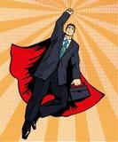 Vol de superhéros d'homme d'affaires avec la serviette Illustration de vecteur dans le rétro style d'art de bruit Concept comique illustration de vecteur