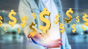 Vol de symbole dollar autour d'une connexion réseau - 3d rendent Images stock