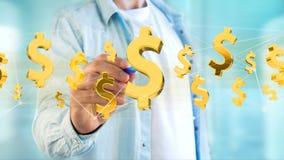 Vol de symbole dollar autour d'une connexion réseau - 3d rendent Photographie stock libre de droits