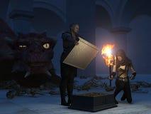 Vol du trésor du dragon illustration stock