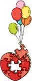 Vol en forme de coeur de puzzle avec des ballons illustration stock