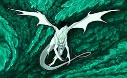 Vol fâché de dragon dans le feu Image stock