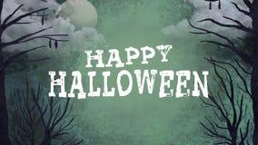 Vol foncé heureux de forêt et de chauves-souris de Halloween Graphiques de mouvement illustration libre de droits