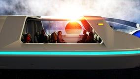 Vol futuriste d'autobus de passager dans l'espace Transport de l'avenir rendu 3d Image libre de droits