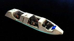 Vol futuriste d'autobus de passager dans l'espace Transport de l'avenir rendu 3d Photos stock