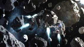 Vol futuriste de vaisseau spatial dans l'espace entre les asteroïdes Photo libre de droits