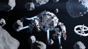 Vol futuriste de vaisseau spatial dans l'espace entre les asteroïdes Photo stock
