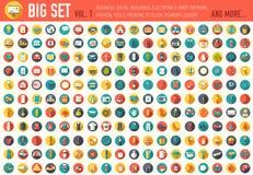 Vol. 1 Gesetzte Ikone der flachen großen Sammlung von medizinischem, erfinden, eco, Architekt, Ranch, Ausrüstung, Werkzeug, Touri Lizenzfreies Stockbild